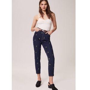 BDG Mom High Rise Slim Buttercup Flower Jeans 29